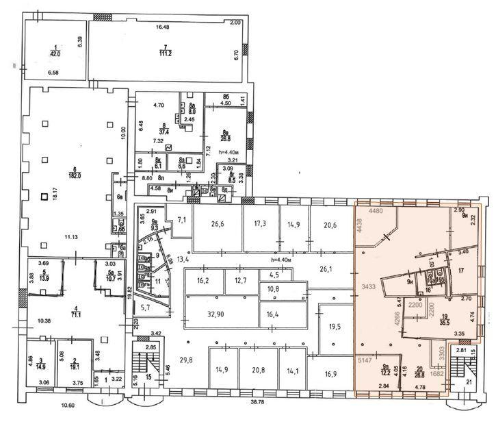 План офиса 264 кв.м Новоспасский Двор