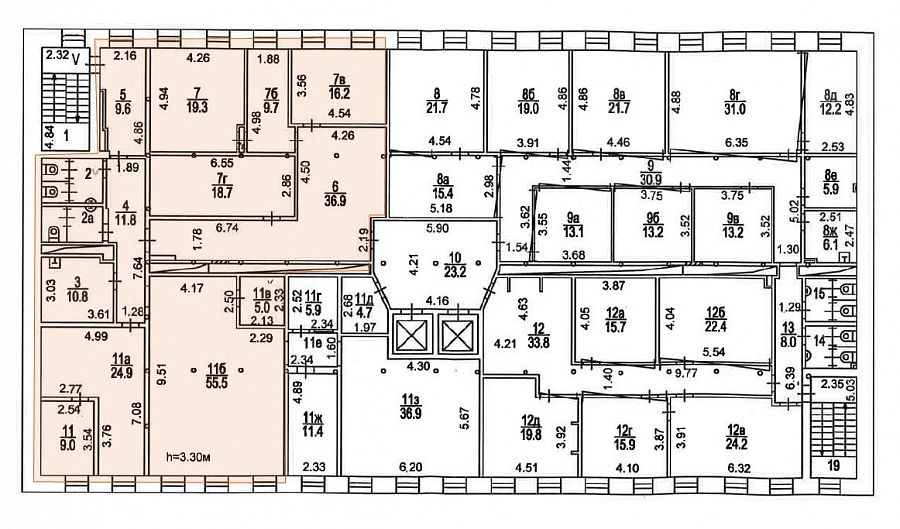 План офиса 295 кв.м Новоспасский Двор